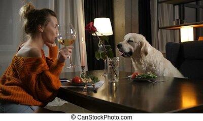pet's, verre, santé, femme, propriétaire, élévation, aimer