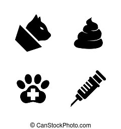 Pets Vet Clinic, Veterinary Medicine. Simple Related Vector Icons