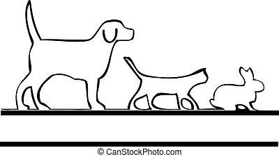 Pets walking logo - dog, cat, rabbit animal walking