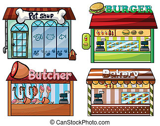 Petshop, burger stand, butcher shop, and bakery - ...