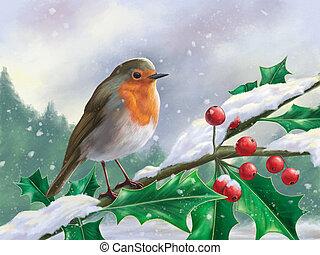 pettirosso europeo, perched, ramo, in, uno, nevoso, paesaggio