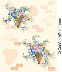 petunia basket - an illustration of decorative petunia cone...