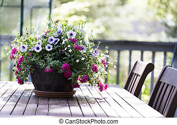 Petunia Basket on Tables