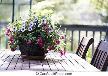 Petunia Basket on Tables