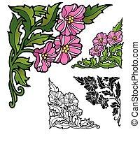 petunia corner - Art nouveau style corner ornaments of ...