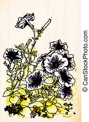 Petunias flowers. Chinese style
