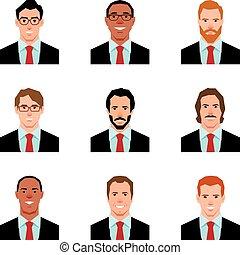 petycje, styl, mężczyźni, ilustracja, avatars, komplet, portrety, wektor, płaski