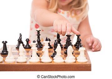 peu, échecs, girl, jouer