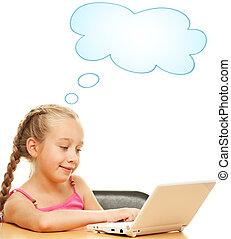 peu, écolière, ordinateur portable