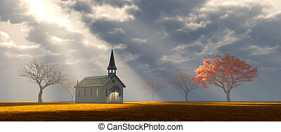 peu, église, sur, les, prairie