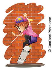 peu, énergique, girl, skateboarding