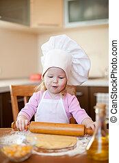 peu, épingle, pâte, rouler, girl, marques, cuisine