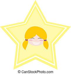 peu, étoile, girl, blonds, heureux