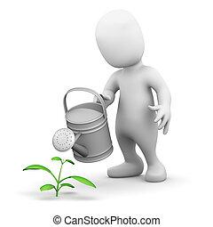peu, 3d, eaux, homme, plant