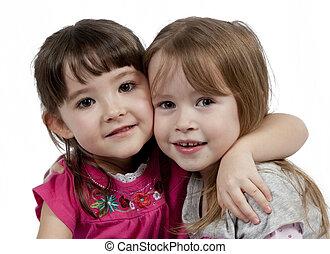 peu, adorable, fond, isolé, filles, deux, blanc