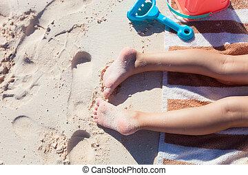 peu, adorable, girl, vacances