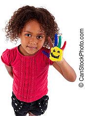 peu, africaine, fille asiatique, à, peint, mains