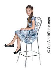 peu, agréable, assied, girl