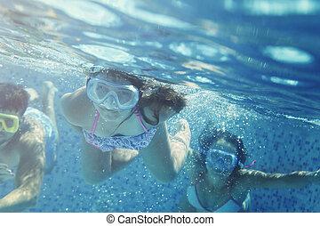 peu, amusement, amis fille, avoir, piscine