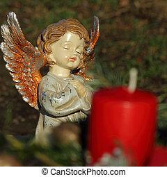 peu, angélique, céramique, figurine, et, bougie, sur, catholique, cimetière