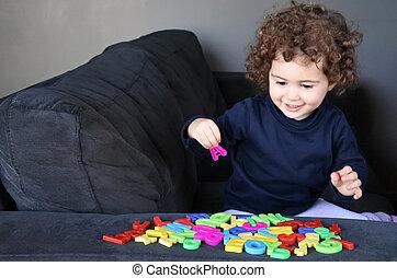 peu, apprend, lettres, langue, alphabet, anglaise, enfant