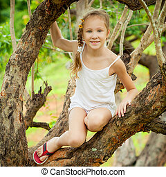 peu, arbre, girl, séance