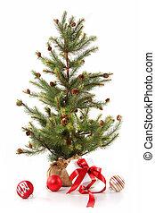 peu, arbre noël, à, rouges, ribboned, dons, blanc