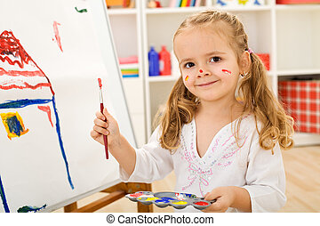 peu, artiste, maison, -, girl, peinture, heureux