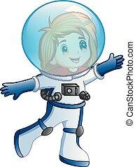 peu, astronaute, déguisement, girl, dessin animé