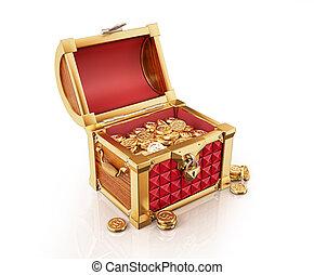 peu, aussi, coffre, trésor, presque, pièces, dehors., or,...