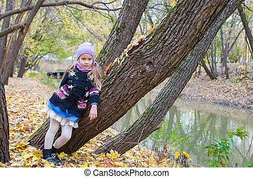 peu, automne, parc, automne, dehors, girl, jour