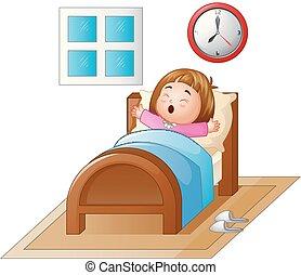 peu, bâiller, haut, lit, réveiller, girl