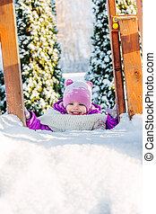 peu, bébé, hiver, playground., girl, jouer