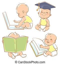 peu, bébé, learning., mignon