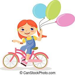 peu, balloon, girl, heureux