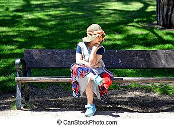 peu, banc, parc, girl, séance