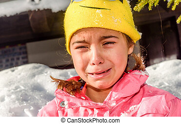 peu, because, neige, elle, pleurer, portrait, girl, froid