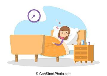 peu, bed., dormir, enfant malade, gosse