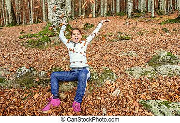 peu, biogradska, feuilles, montenegro, avoir, automne, parc, amusement, girl, national, gora