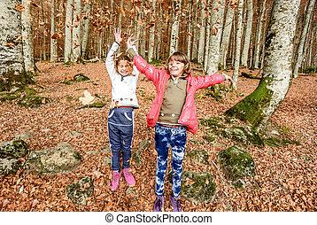 peu, biogradska, filles, national, montenegro, automne, parc, amusement, laves, avoir, gora