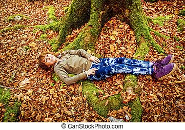 peu, biogradska, montenegro, feuilles, parc, lit, pose, automne, girl, national, gora