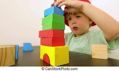 peu, blocs, jouer, enfant