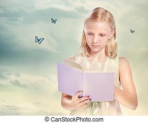 peu, blond, lecture fille, a, livre