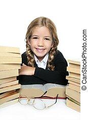 peu, blonds, étudiant, fille souriant, heureux