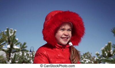 peu, boules neige, girl, jouer