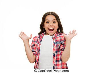 peu, brunette, beauté, look., isolé, long, style., cheveux, froussard, bouche, white., emotions., enfant, surprise, girl, figure, ouvert, désinvolte, surpris, gosse