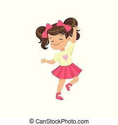peu, brunette, danse, illustration, vecteur, fond, girl, agréable, blanc