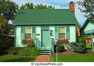 peu, bungalow, coloré
