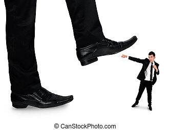 peu, business, pieds, homme, écrasant