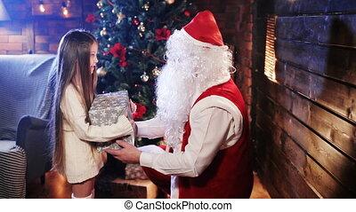peu, cadeau, claus, santa, girl, donne